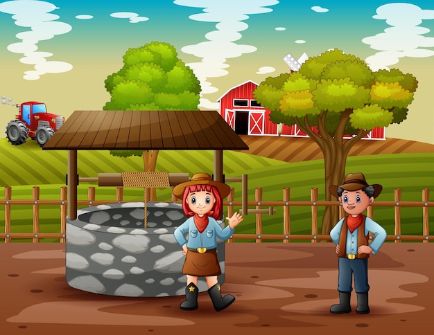 Ilustração de cowboy e cowgirl na fazenda
