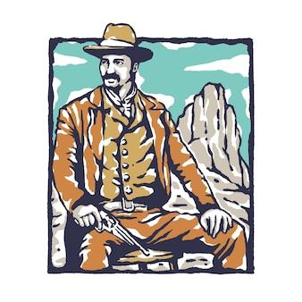 Ilustração de cowboy vintage