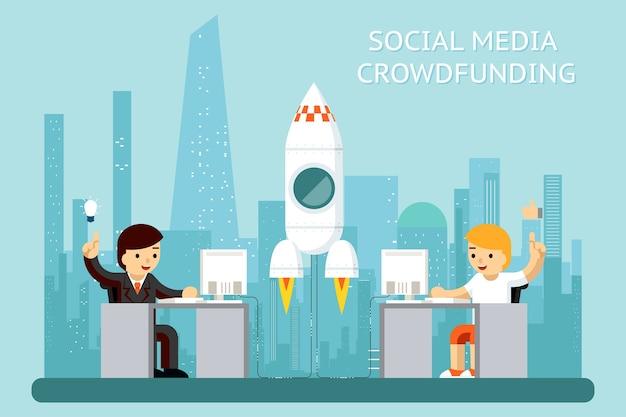 Ilustração de cowdfunding de mídia social