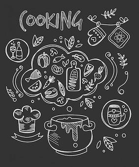 Ilustração de cozinha, desenho de lousa