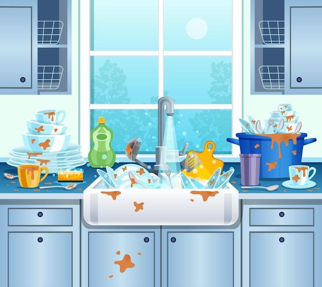 Ilustração de cozinha suja com pratos, xícaras e saboneteira