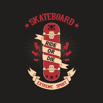 Ilustração de crachá de clube de skate