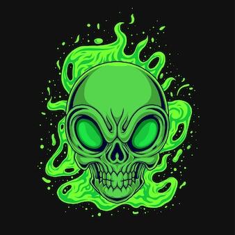 Ilustração de crânio alienígena