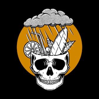 Ilustração de crânio chuvoso