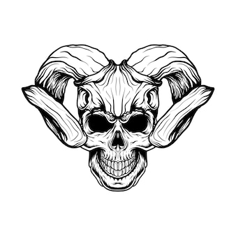 Ilustração de crânio com capacete de crânio de veado com estilo de linha de arte para design de camisetas