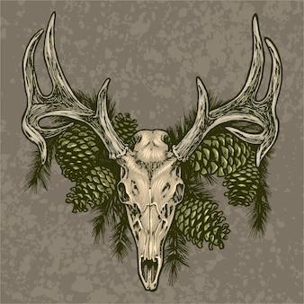Ilustração de crânio de alce e pinha