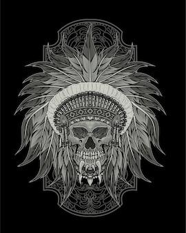 Ilustração de crânio de apache indiano
