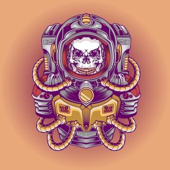Ilustração de crânio de astronauta