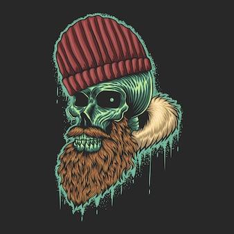 Ilustração de crânio de barba