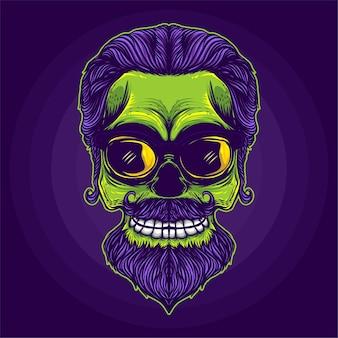 Ilustração de crânio de cabeça verde sorridente
