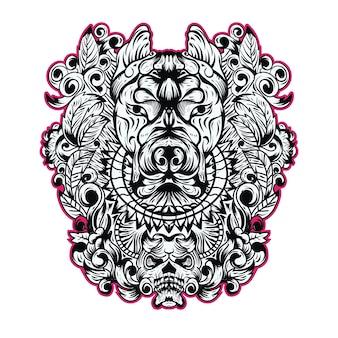 Ilustração de crânio de cachorro com ornamento