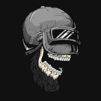 Ilustração de crânio de capacete