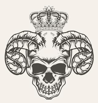 Ilustração de crânio de demônio com coroa de rei