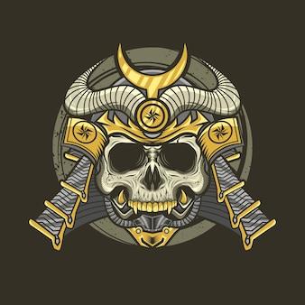 Ilustração de crânio de samurai com capacete detalhada