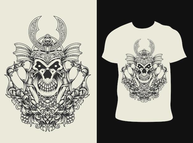 Ilustração de crânio de samurai com design de camiseta