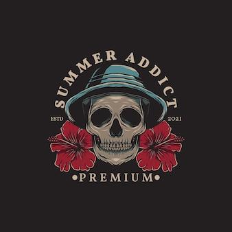 Ilustração de crânio de verão usando chapéu e flores de hibisco com estilo desenhado à mão