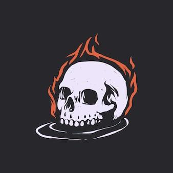Ilustração de crânio em chamas