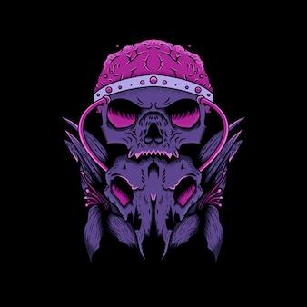 Ilustração de crânio, flor e cérebro