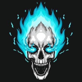 Ilustração de crânio humano de fogo azul