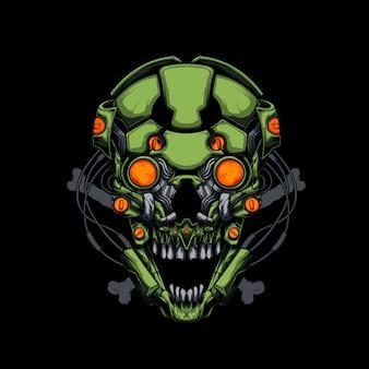 Ilustração de crânio mecha verde