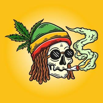 Ilustração de crânio rasta de dreadlocks fumando e usando um chapéu rasta em fundo amarelo