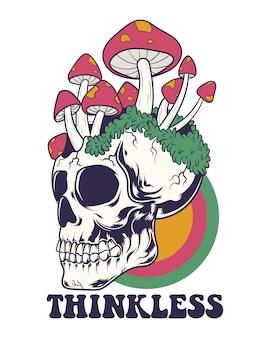Ilustração de crânio sem pensar