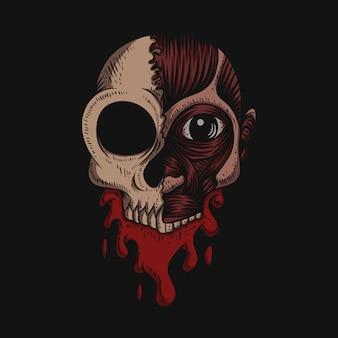 Ilustração de crânio sem sangue de pele