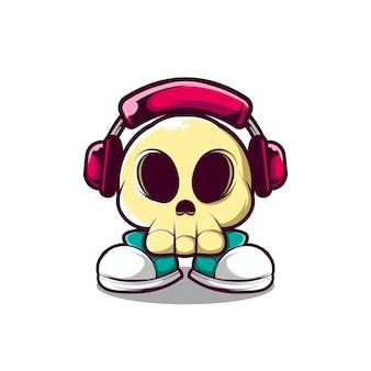 Ilustração de crânio usando fone de ouvido