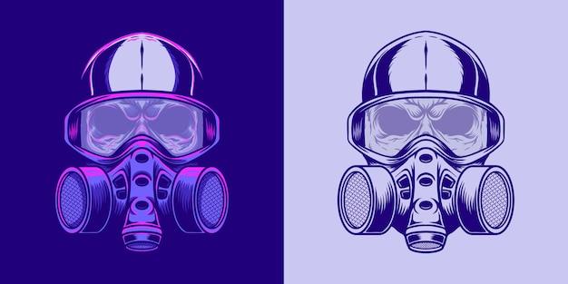 Ilustração de crânio usando uma máscara em estilo neon retrô
