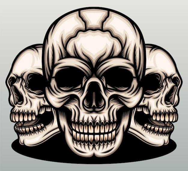 Ilustração de crânios de gângster.