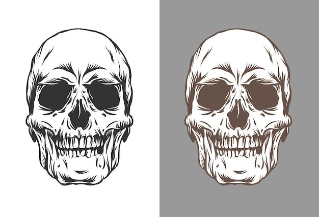 Ilustração de crânios humanos em estilo de gravura na cor preta e marrom