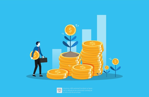 Ilustração de crescimento de negócios para o conceito de investimento inteligente. desempenho de lucro ou receita com moedas de pilha e símbolo de planta de dinheiro