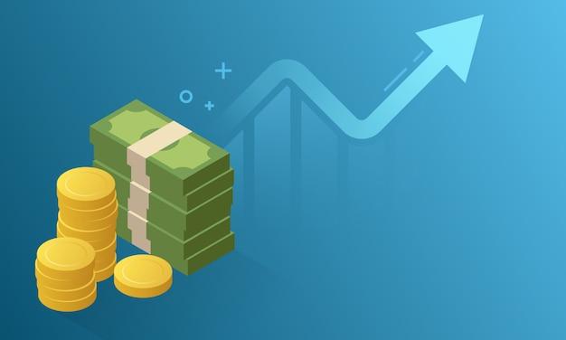 Ilustração de crescimento financeiro com espaço de cópia.