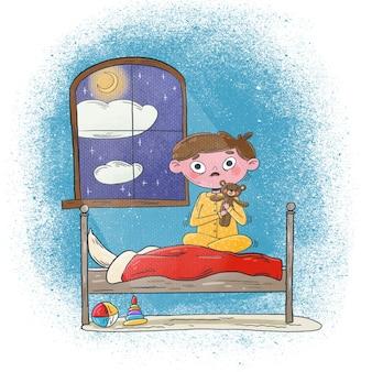 Ilustração de criança assustada segurando um ursinho de pelúcia à noite