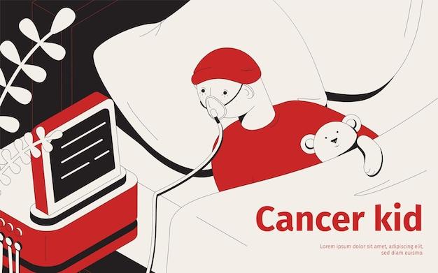 Ilustração de criança com câncer