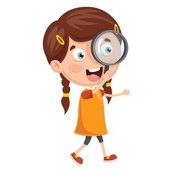 Ilustração de criança com lupa