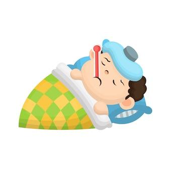 Ilustração de criança de febre com estilo cartoon