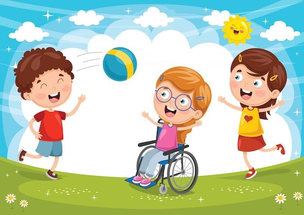 Ilustração de criança deficiente