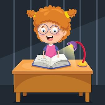 Ilustração de criança estudando à noite