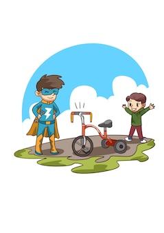 Ilustração de criança feliz com triciclo