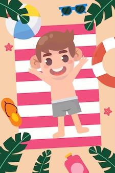 Ilustração de criança feliz na praia
