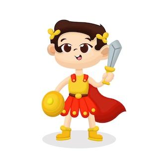 Ilustração de criança fofa com traje de soldado romano com cara feliz