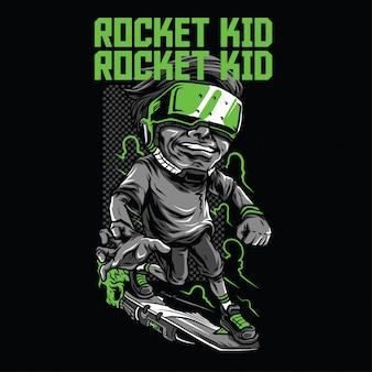 Ilustração de criança foguete