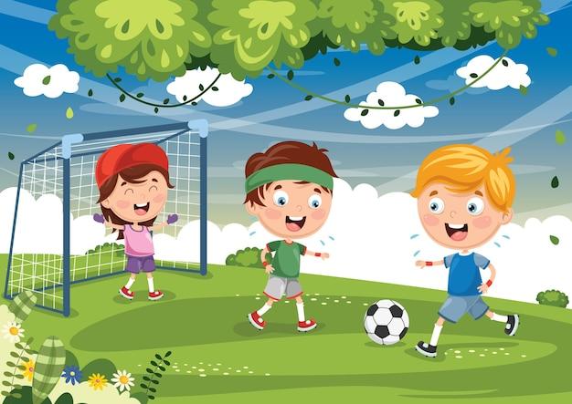 Ilustração de criança jogando futebol