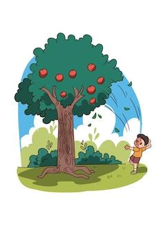 Ilustração de criança jogando pedra na macieira