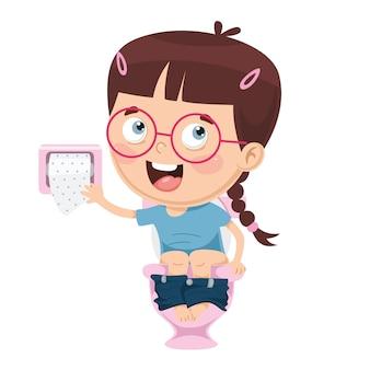 Ilustração de criança no banheiro