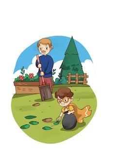 Ilustração de criança super-herói ajudando o pai no jardim