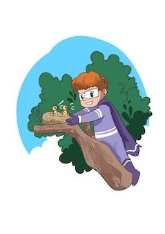 Ilustração de criança super-herói colocando ninho de pássaro na árvore