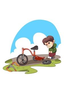 Ilustração de criança triste com triciclo quebrado