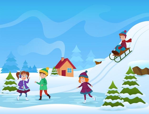 Ilustração de crianças alegres, patinação no gelo e andar de trenó no inverno